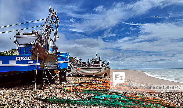 Hastings is a town and borough in East Sussex on the south coasof England  Vieof Fishing Boat on the beach the largest fishing fleet in Europe putting boats to the sea from the pebble beach Mode de transport  Navire nautique  ?quipement de navigation