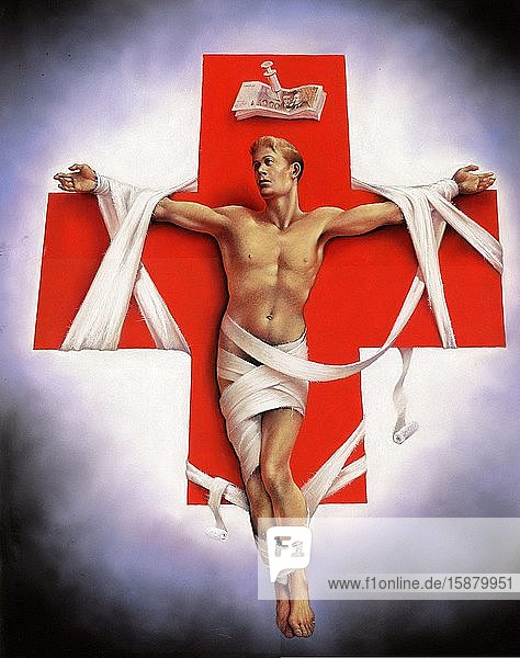 Illustration  patient 'crucified' on a red cross  therapeutic relentlessness
