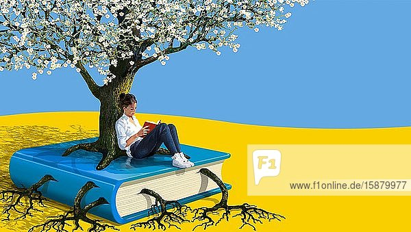 Illustration  young woman reading in spring  leaning against a flowering tree