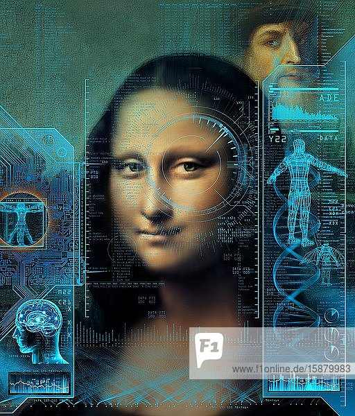 Illustration  scientific studies of the portrait of the Mona Lisa by Leonardo da Vinci