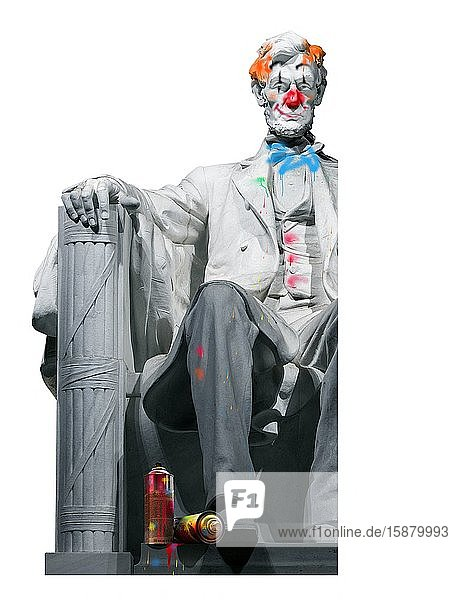 Illustration  Lincoln statue covered in tags  no respect for america