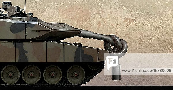 Illustration  Tank with knotted barrel .bad equipment