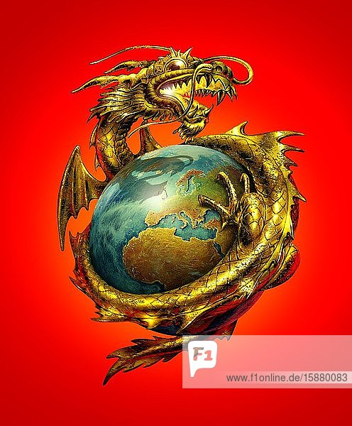 Illustration  chinese world power  dragon holding the earth