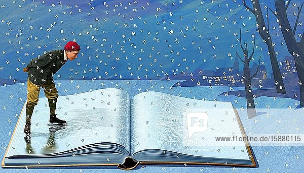 Illustration  reading in winter