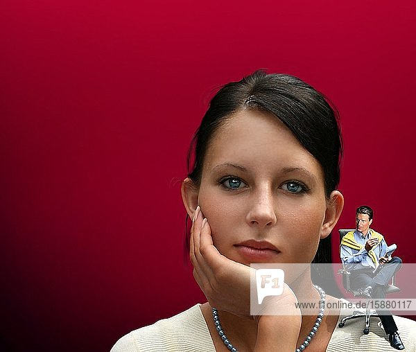 Illustration  psychoanalysis  portrait of pensive young woman  psychoanalyst on her shoulder