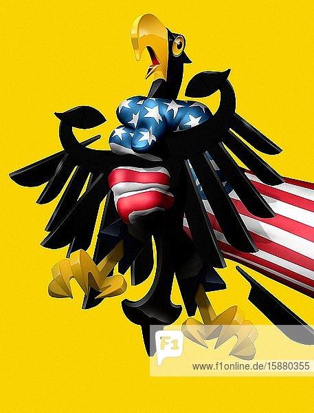 Illustration  American hand holding German eagle.