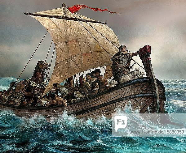 Illustration  Vandals  men on sailboat at sea