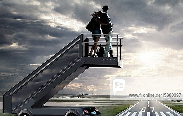 Illustration  couple on boarding stairs  flight cancelled