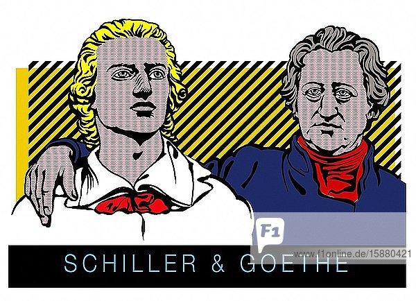 Illustration  portraits of Schiller and Goethe