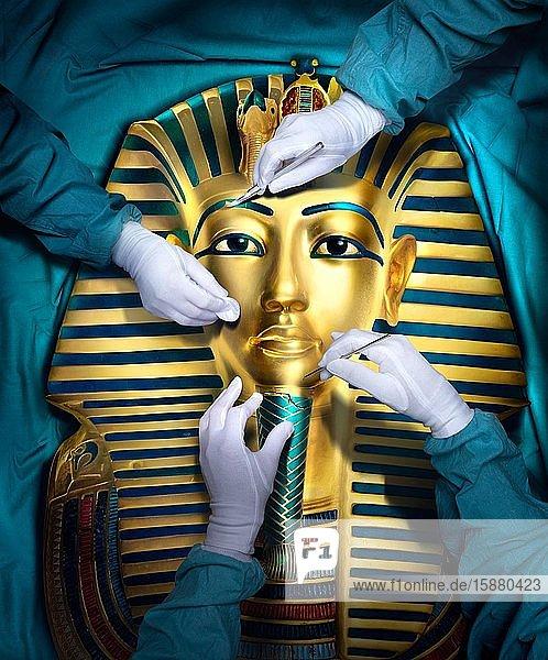 Illustration  close-up on hands of 3 people restaurant funeral mask of Tutankhamen