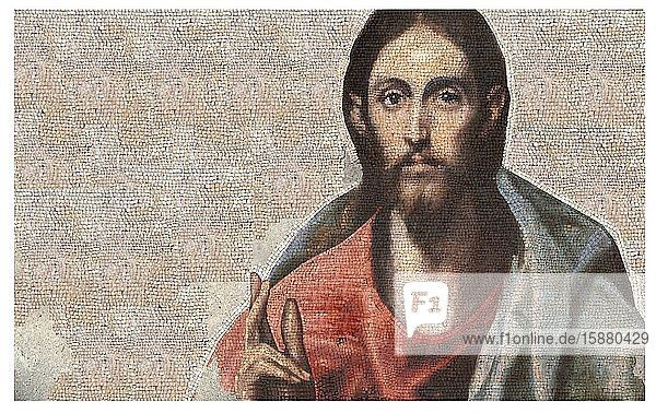 Illustration  mosaic representing the portrait of Jesus