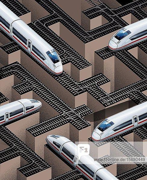 Illustration  Deutsche Bahn privatized  many trains at a standstill