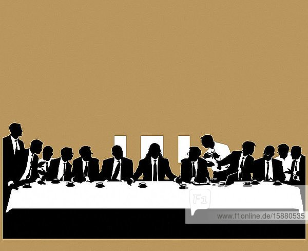 Illustration  modern representation of the Last Supper with businessmen around Jesus