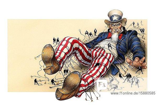 Illustration  giant Uncle Sam on the ground  men holding him