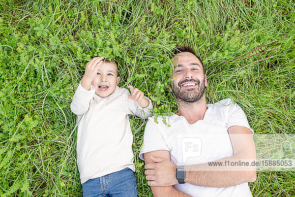 High angle view of smiling bearded man and young boy lying in grass.
