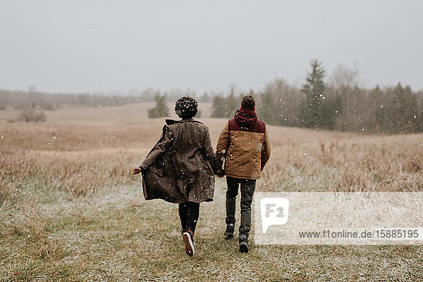 Rear view of a couple holding hands walking into a wintry rural landscape.