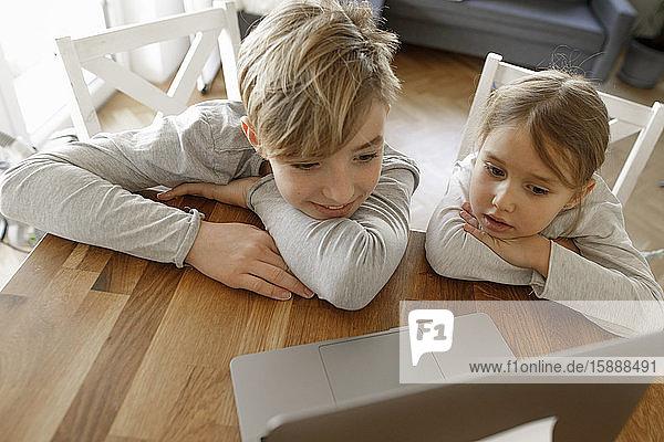 Bruder und Schwester schauen zu Hause gemeinsam auf den Laptop