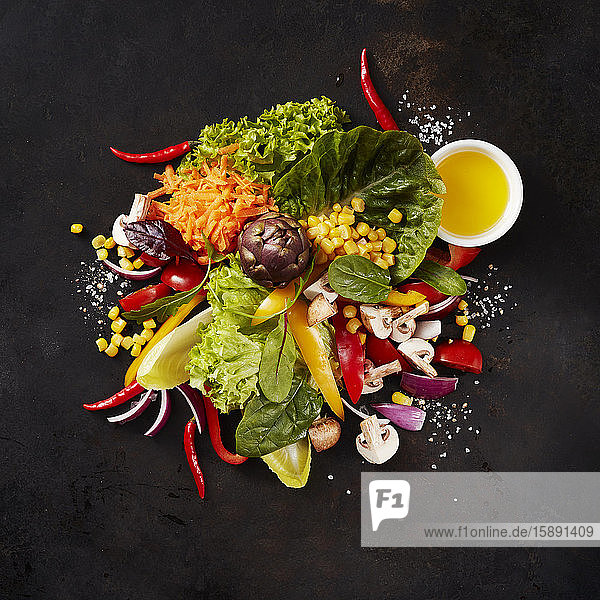 Heap of various culinary ingredients for salad