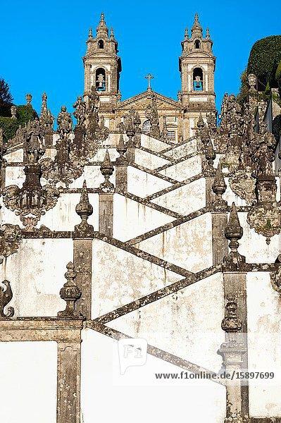 Santuario do Bom Jesus do Monte  Good Jesus of the Mount sanctuary  Church and staircase of the Five Senses  Tenoes  Braga  Minho  Portugal.