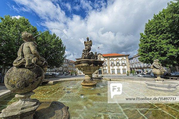 Braga City Hall and fountain  Minho  Portugal.