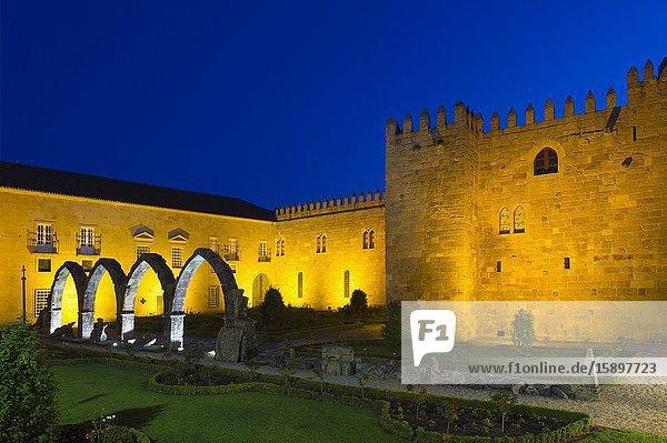 Santa Barbara garden near the walls of the Old Palace of the Archbishops at sunset  Braga  Minho  Portugal.