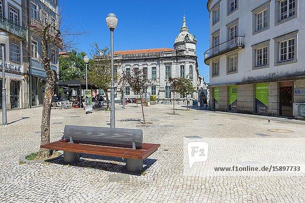 Republic Square and Bank of Portugal  Braga  Minho  Portugal.