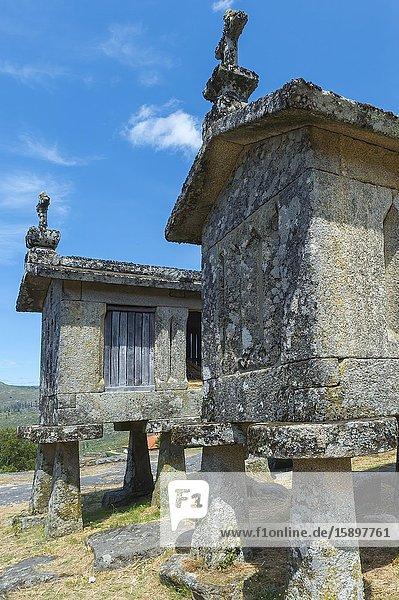 Traditional Espigueiros,  Granary,  Lindoso,  Peneda Geres National Park,  Minho province,  Portugal.