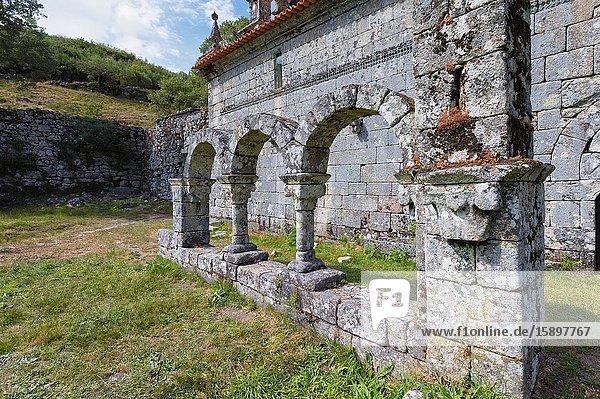 Cloister arcade ruins  Pitoes Monastery  Pitoes das Junias  Peneda Geres National Park  Minho  Portugal.