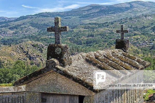 Traditional Espigueiros  Granary  Soajo village  Peneda Geres National Park  Minho province  Portugal.