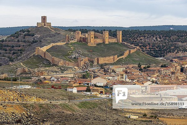 Castle and Molina de Aragon village from the viewpoint of Molina. Guadalajara. Spain. Europe.
