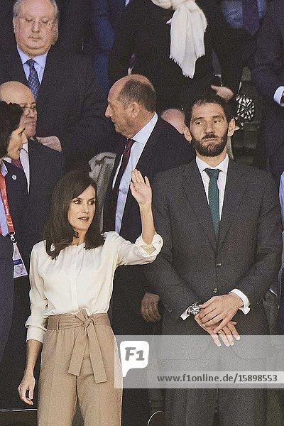 Queen Letizia of Spain attends 'Spanish Queen's Cup' Basket Final match between Perfumerias Avenida (winner) and Uni Girona at Pabellon Multiusos Sanchez Paraiso on March 8  2020 in Salamanca  Spain