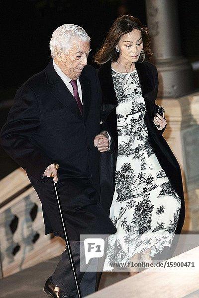 Mario Vargas Llosa  Isabel Preysler attends Placido Arango's Mass Funeral at Los Jeronimos church on March 4  2020 in Madrid  Spain