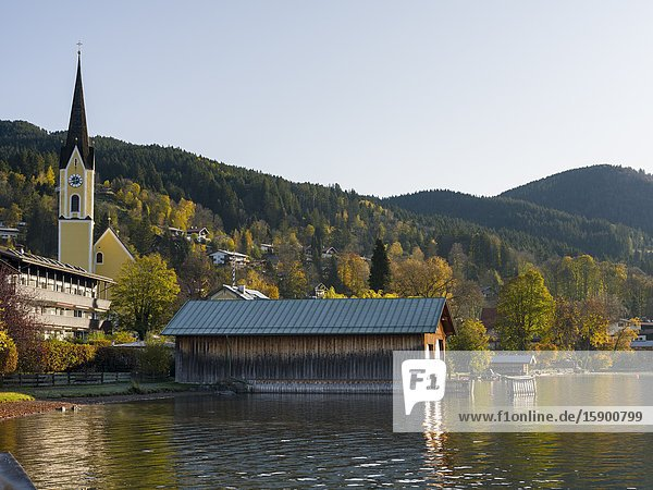 Lake and village Schliersee in the bavarian Alps. Europe  Central Europe  Bavaria  Germany.