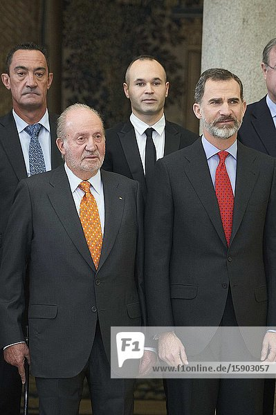 King Felipe VI of Spain  King Juan Carlos of Spain attend National Sport Awards 2015 at Royal Palace of El Pardo on January 23  2017 in Madrid  Spain.King Felipe VI has decided to renounce the inheritance of King Juan Carlos of Spain 'that could personally correspond to him ' announced this Sunday the Casa del Rey  in a statement in which he also advances that King Juan Carlos of Spain stops receiving the assignment he has fixed in the Budgets of the House of SM the king.