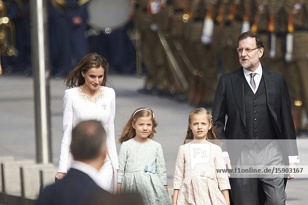 King Felipe VI of Spain  Queen Letizia of Spain  Princess of Asturias  Leonor  and Princess Sofia arrives to Congress for the crowing on June 19  2014 ahead of a joint session of parliament.