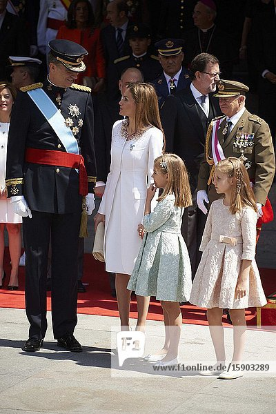 King Felipe VI of Spain  Queen Letizia of Spain  Princess of Asturias  Leonor  and Princess Sofia attends a Military Parade at the Congress for the crowing on June 19  2014 ahead of a joint session of parliament.