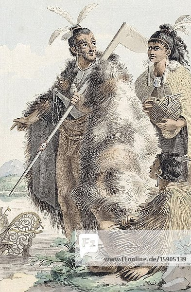 Maoris of New Zealand. After an early 19th century print.