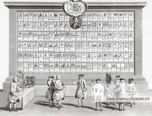 The English masonic lodges in London and provincial areas  c. 1730.