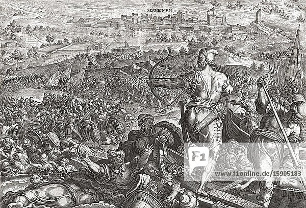 The forces of Cosimo I de Medici defeat the Ottomans and French at Piombino  Italy in 1555.
