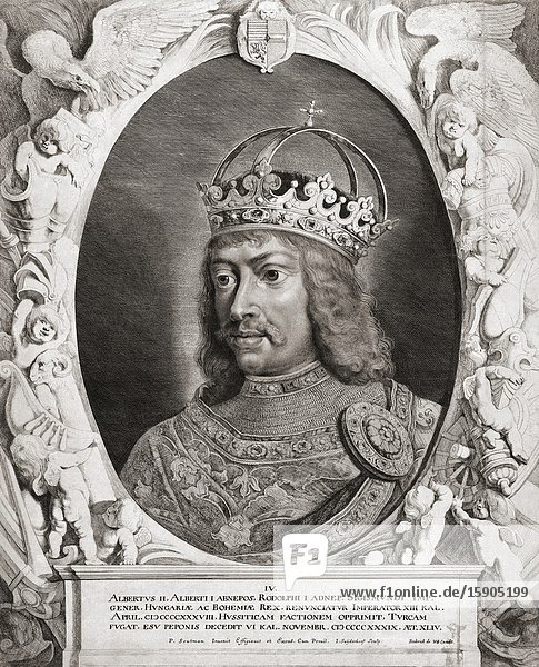 Albrecht II or Albert II of Germany  1397-1439. King of Hungary and Croatia  King of Bohemia  King-elect of Germany and Archduke of Austria. Also known as Albert the Magnanimous.