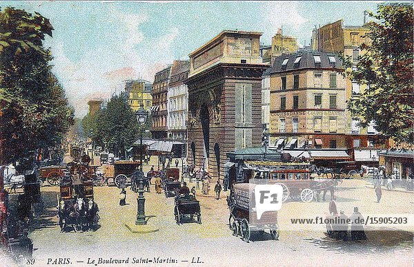 Boulevard Saint-Martin  Paris  France circa 1900. After a contemporary postcard.