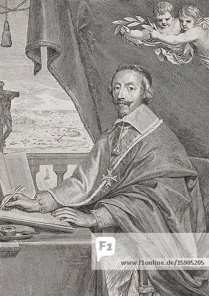Cardinal Richelieu. Cardinal Armand Jean du Plessis  1st Duke of Richelieu and Fronsac  aka The Red Eminence  1585-1642. French clergyman  nobleman and statesman.