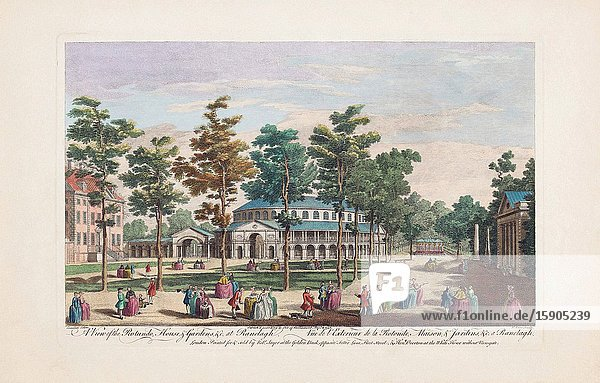 A view of the Rotunda  House  & Gardens  &c. at Ranelagh. From an engraving dated 1751 by Nathaniel Parr after a work by Antonio Canaletto. Later colourization. Ranelagh Gardens  Chelsea  London.