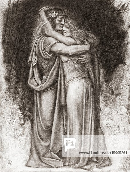 Tristan and Isolde. Characters from Richard Wagner's opera Tristan und Isolde. After an etching by Spanish artist Rogelio de Egusquiza y Barrena  1845-1915.