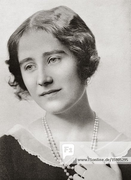 EDITORIAL The Lady Elizabeth  future Duchess of York  Queen Elizabeth and The Queen Mother. Elizabeth Angela Marguerite Bowes-Lyon  1900-2002. Wife of King George VI and mother of Queen Elizabeth II. From King George the Sixth  published 1937.