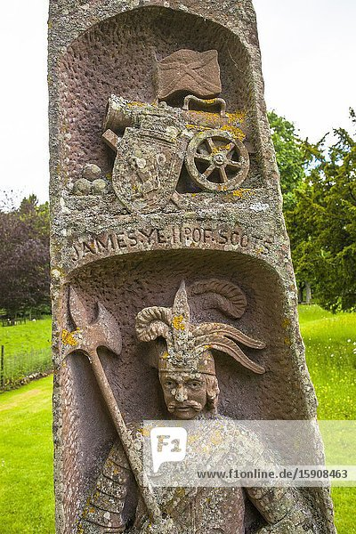 King James II obelisk  Dryburgh Abbey  Scottish Borders District  Scotland  United Kingdom  Europe.