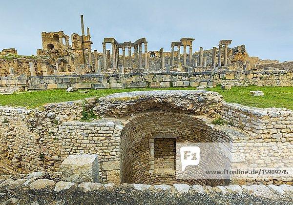 Theatre. Dougga Roman city ruins. Tunisia.