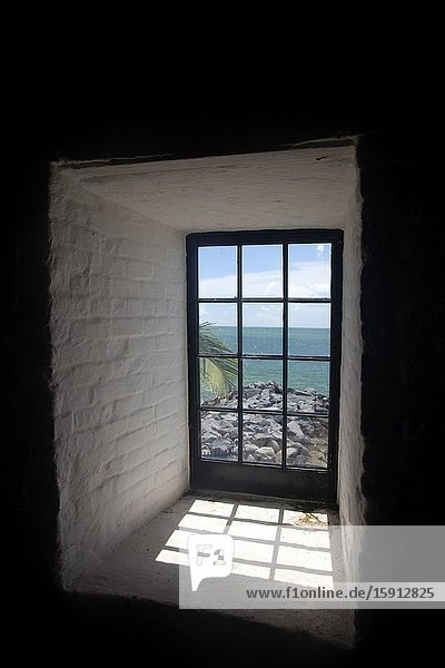 Miami-Dade  Florida  USA. August 12 2016: View to the beach from the window of the Key Biscayne Lighthouse  USA.