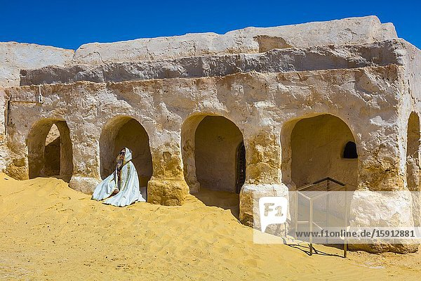 Star Wars filming location. Sahara desert close to Tozeur city. Tunisia  Africa.