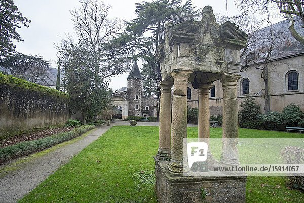 Angers - a city in the west of France the Loire Valley on December 27  2019: The former St Jean now Jean Lurcat museum and gardens.